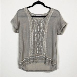 Altar'd State | tan embroidered lightweight top